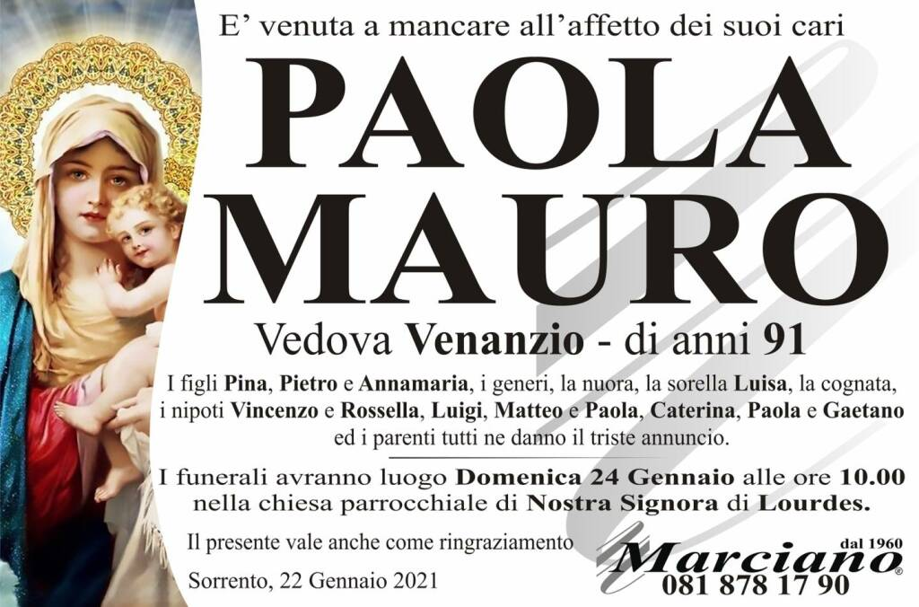 manifesto funebre Paola Mauro