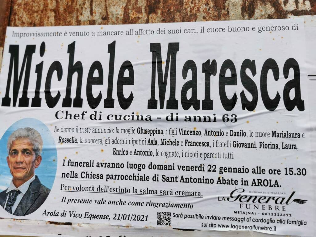 Michele Maresca Arola Vico Equense necrologio