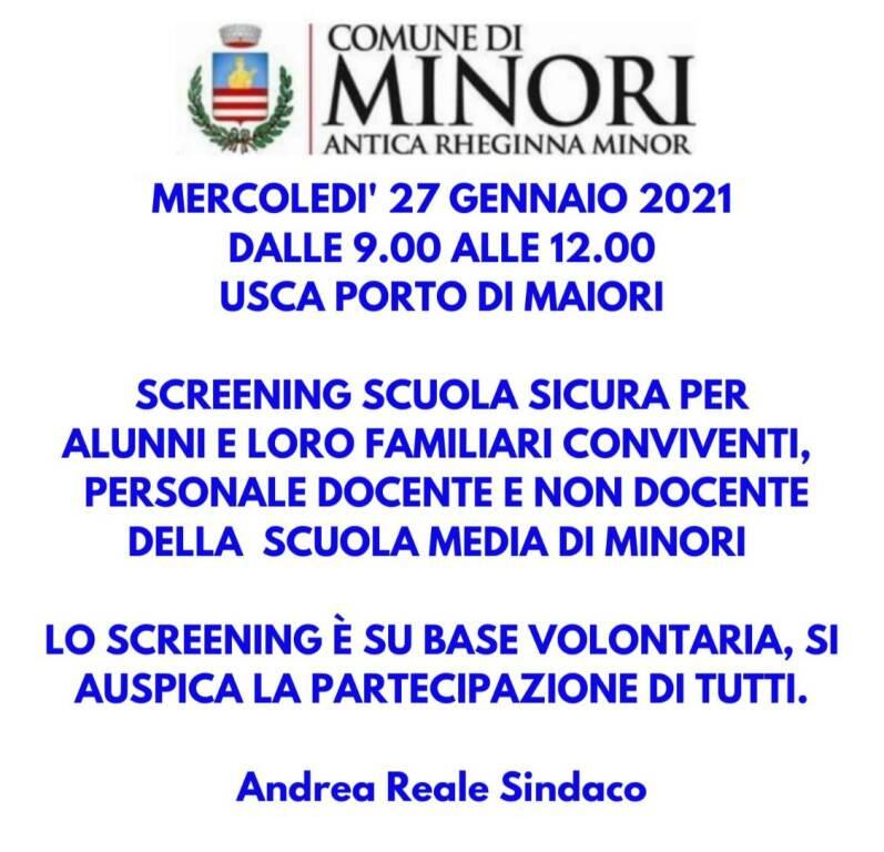 Minori, domani lo screening per gli alunni ed i loro familiari, i professori ed il personale della scuola media