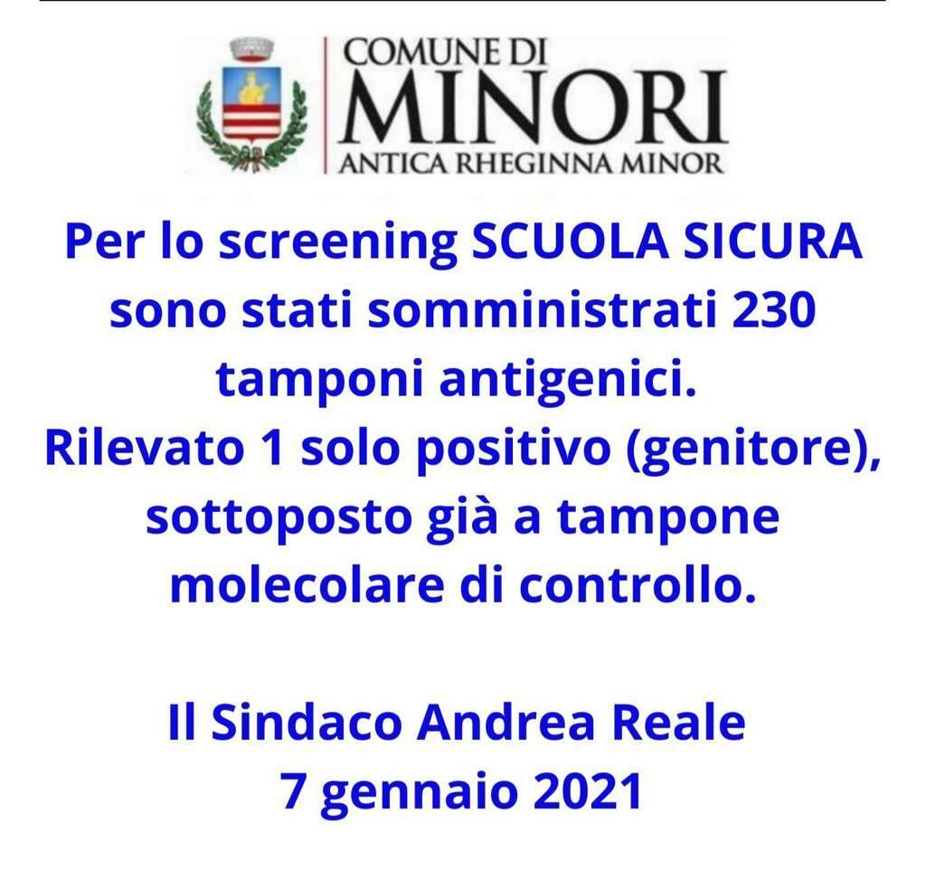 """Minori, """"Screening Scuola Sicura"""" un solo positivo al test antigenico"""