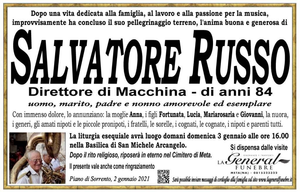 Piano di Sorrento in lutto per la scomparsa del Direttore di Macchina Salvatore Russo. Aveva 84 anni