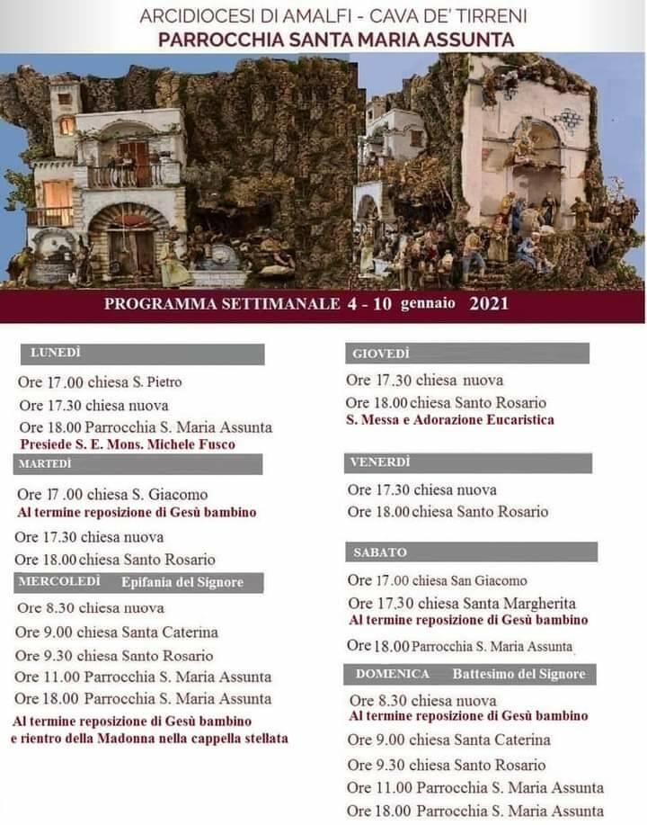 Positano, il programma delle celebrazioni religiose dal 4 al 10 gennaio. Domani il Vescovo Michele Fusco