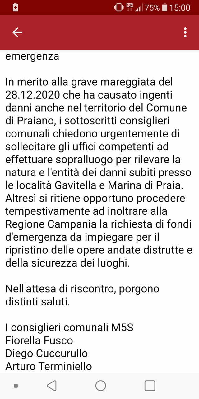 Praiano nota M5S Capitaneria