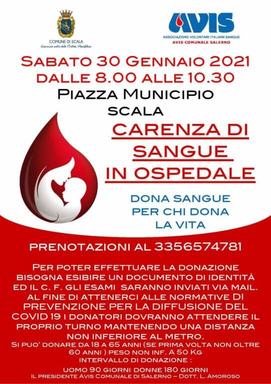 Scala, sabato 30 giornata dedicata alla donazione del sangue