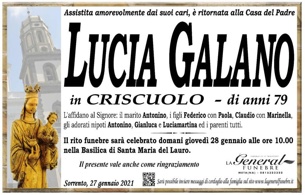 Sorrento: all'età di 79 anni, Lucia Galano, in Criscuolo, è ritornata alla Casa del Padre