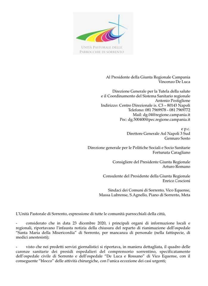 Sorrento lettera cattedrale per emergenza sanitaria
