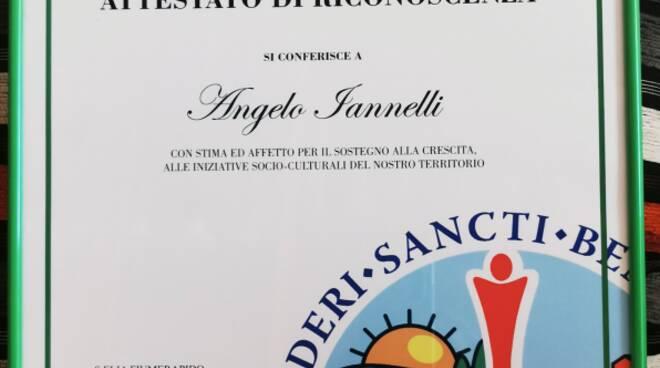 """Riconoscimento  per Angelo Iannelli a S.Elia Fiumerapido , premiato dall\""""Ass From Italia"""