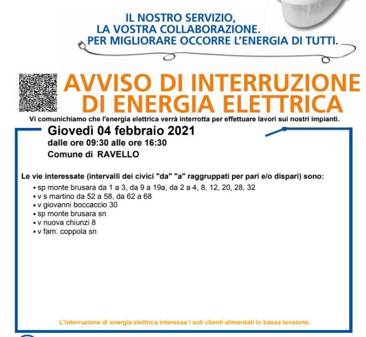 Giovedì 4 febbraio interruzione dell'energia elettrica a Ravello