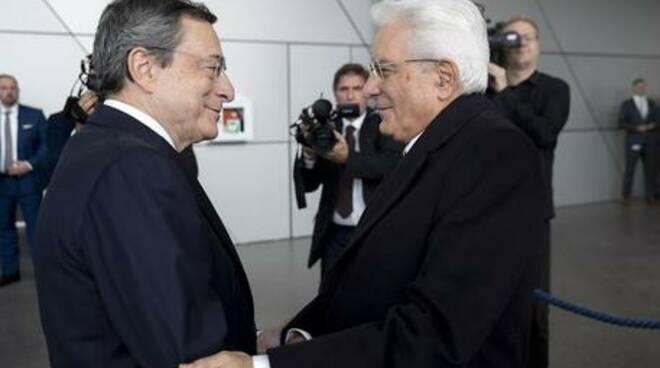 Mario Draghi con Mattarella
