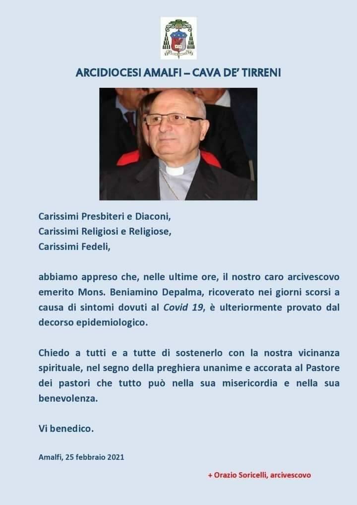 Peggiorate le condizioni del vescovo Beniamino Depalma. Ricoverato al Cotugno per Covid