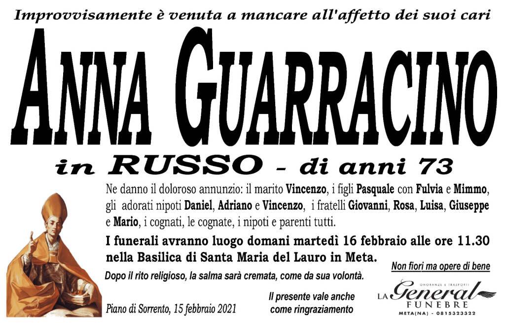 Piano di Sorrento, all'età di 73 anni è venuta a mancare Anna Guarracino, in Russo
