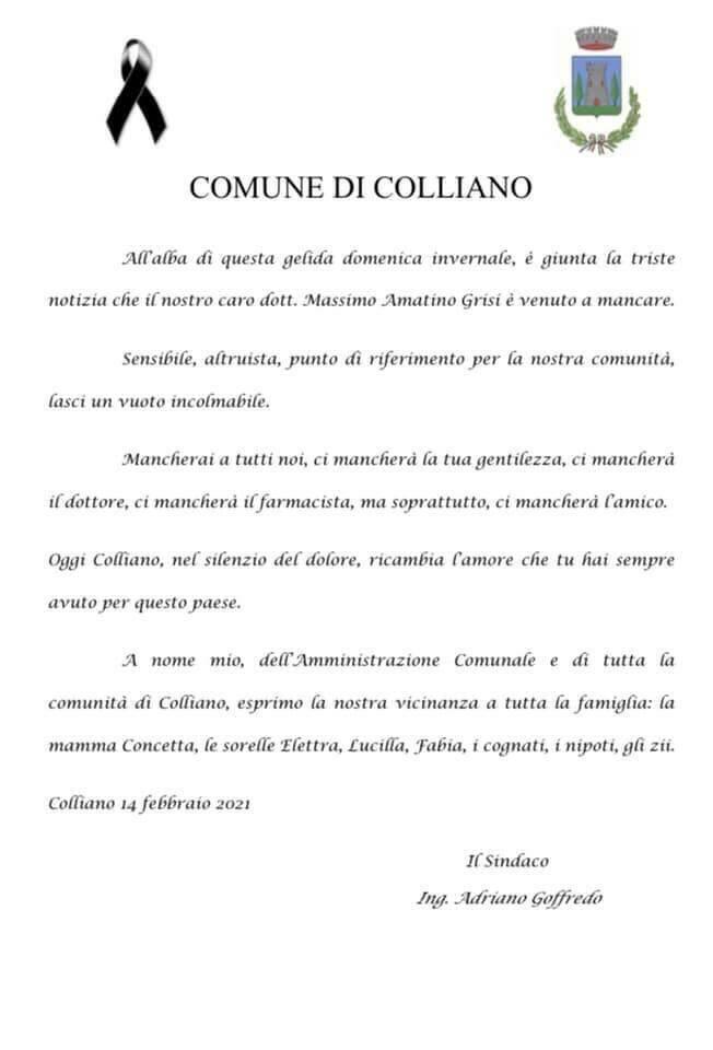 Positano/Colliano: ieri grande commozione per i funerali di Amatino Grisi