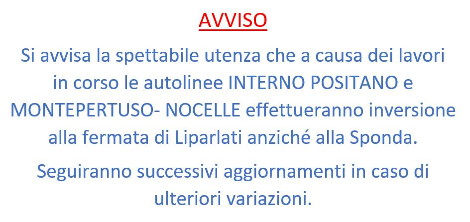 Positano, Mobility Amalfi Coast: variazioni sulle autolinee Interno Positano e Montepertuso-Nocelle