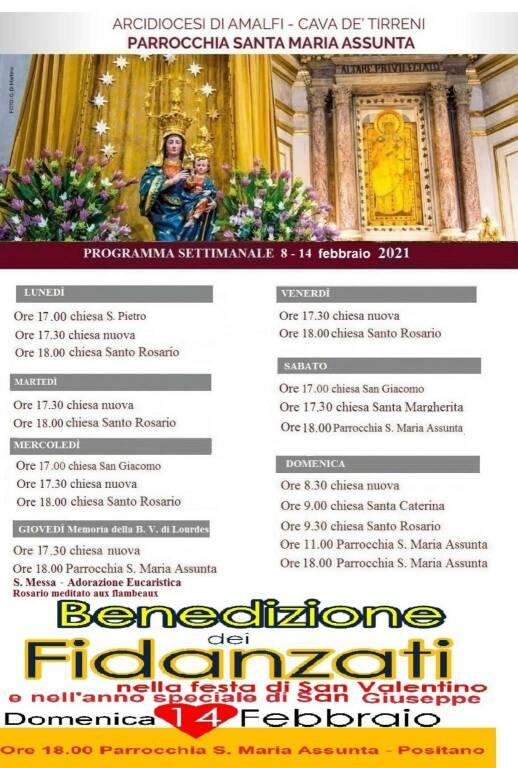 Programma della settimana di San Valentino per la Chiesa di Positano