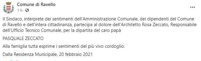 Ravello, il messaggio di cordoglio del Sindaco per la scomparsa del papà dell'architetto Zeccato