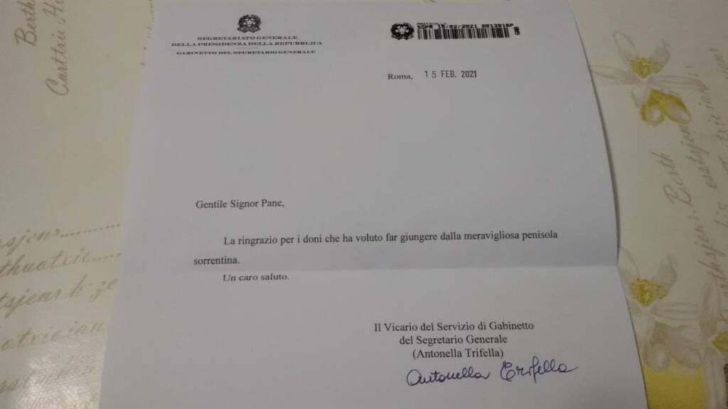 Sorrento, a Raffaele Pane la lettera di ringraziamento dalla Presidenza della Repubblica