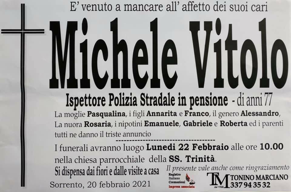 Sorrento, ci lascia il 77enne Michele Vitolo, Ispettore Polizia Stradale in pensione