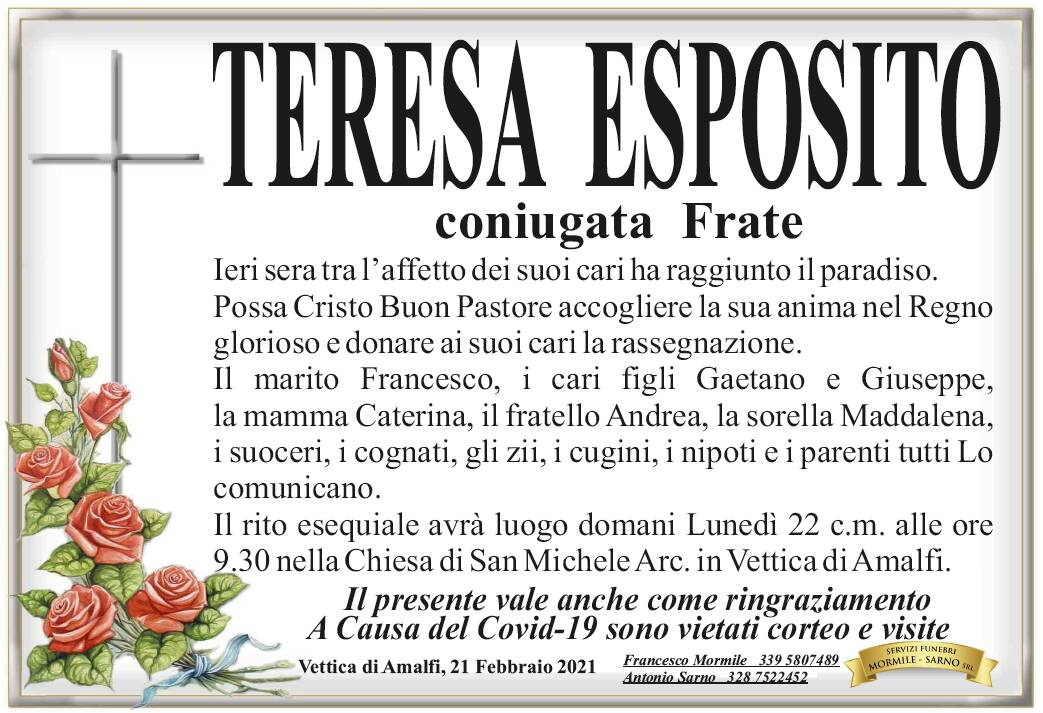 Vettica di Amalfi: Teresa Esposito, coniugata Frate, ha raggiunto il Paradiso