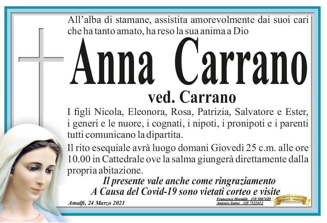 Amalfi, Anna Carrano ha reso la sua anima a Dio