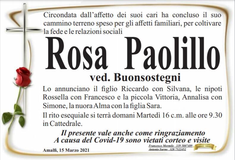 Amalfi piange la scomparsa di Rosa Paolillo, vedova Buonsostegni