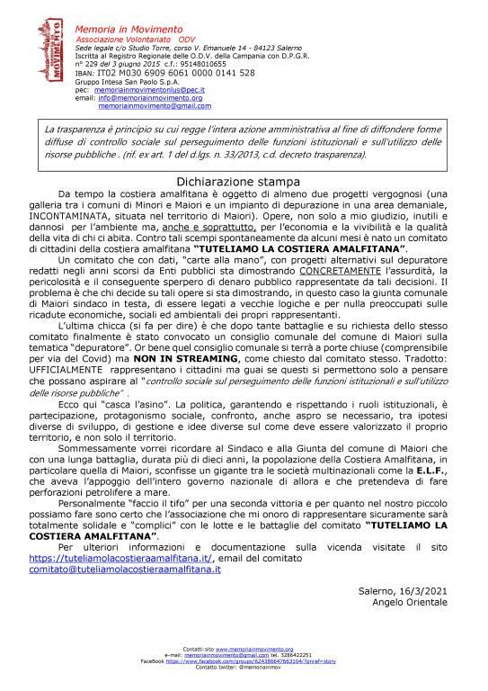 Solidali e complici con il comitato TUTELIAMO LA COSTIERA AMALFITANA