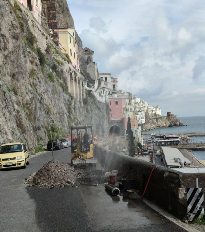 Frana ad Amalfi, continuano i lavori: possibili cali di pressione o assenza di fornitura idrica