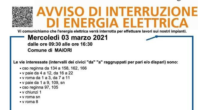 Maiori, domani 3 marzo interruzione elettrica. Scopri dove
