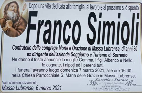 Massa Lubrense, è venuto a mancare Franco Simiol