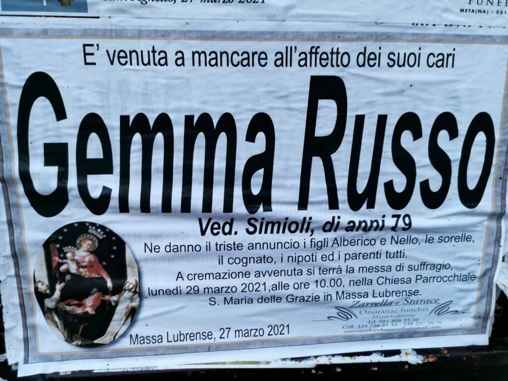 Massa Lubrense: Gemma Russo, vedova Simioli, ci ha lasciati all'età di 79 anni