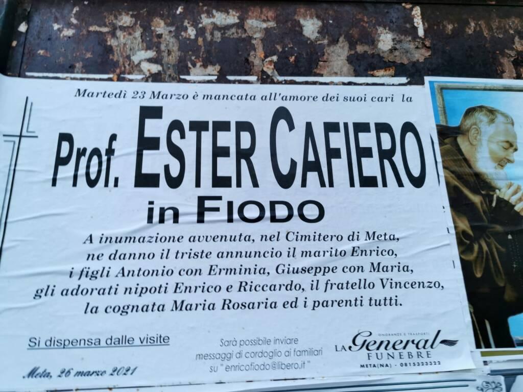 Meta, è mancata all'affetto dei suoi cari la prof.ssa Ester Cafiero, in Fiodo