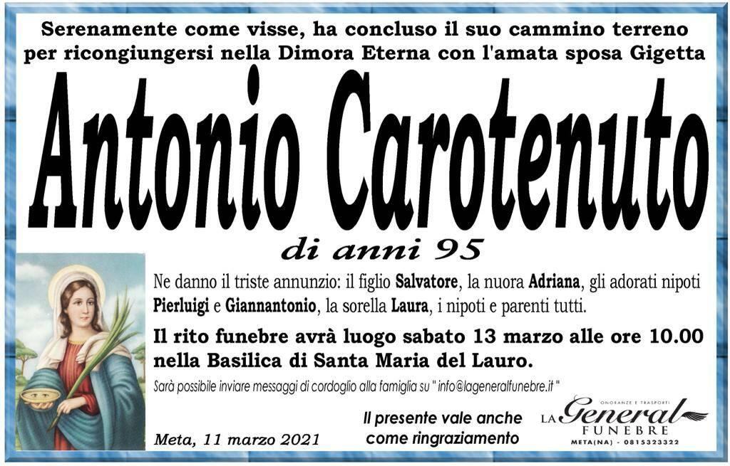Meta piange la scomparsa del 95enne Antonio Carotenuto