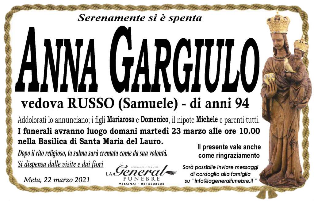 Meta, serenamente si è spenta all'età di 94 anni Anna Gargiulo, vedova Russo