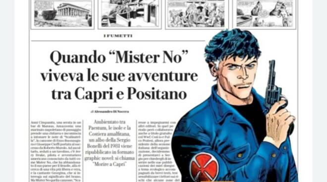 Mister No a Positano e Capri  su Repubblica