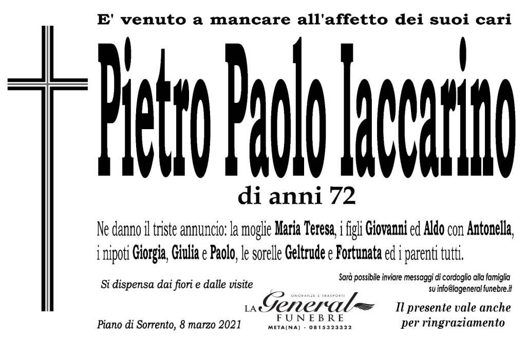 Piano di Sorrento piange la scomparsa di Pietro Paolo Iaccarino, di anni 72.