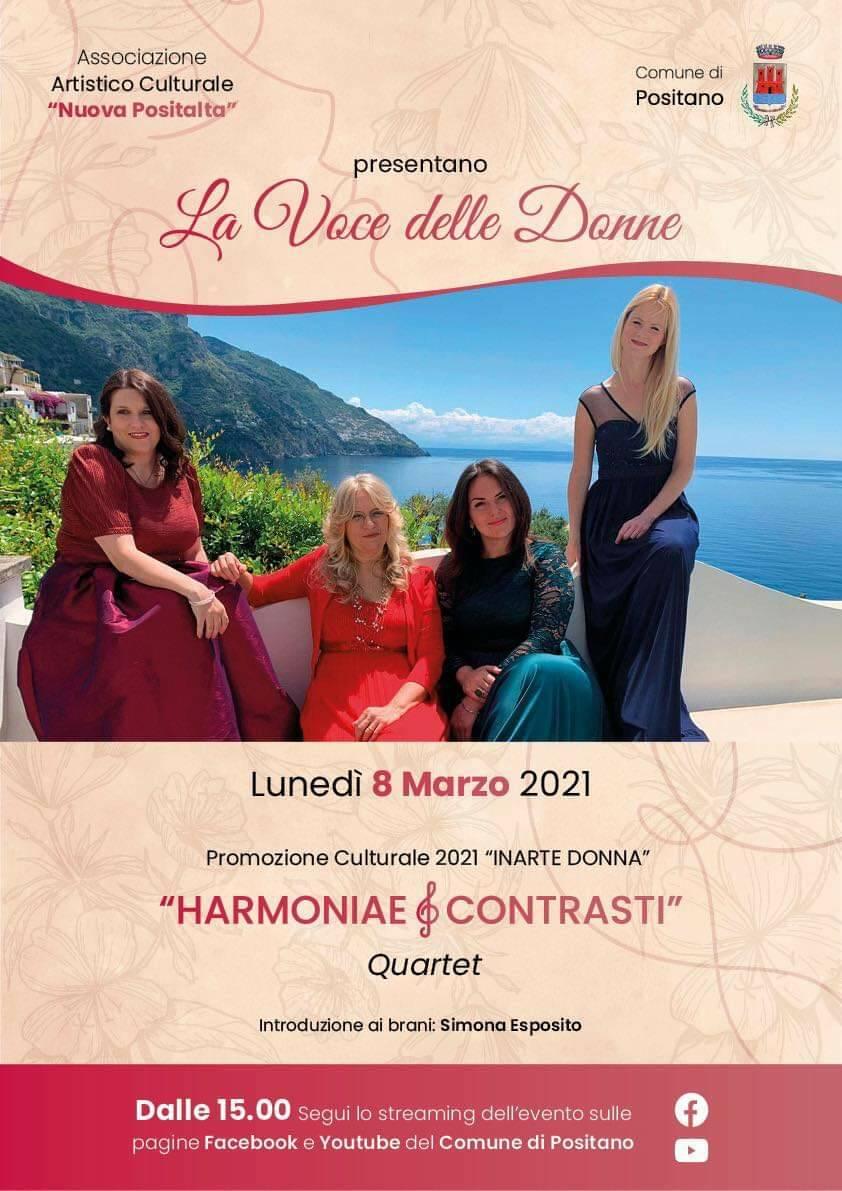 """Positano: il quartetto """"Harmoniae & Contrasti"""" si esibirà lunedì per la Festa della donna"""