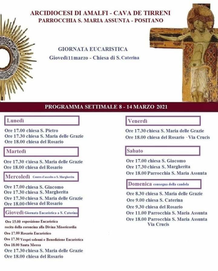 Positano, Parrocchia Santa Maria Assunta: il programma delle Celebrazioni Religiose della prossima settimana