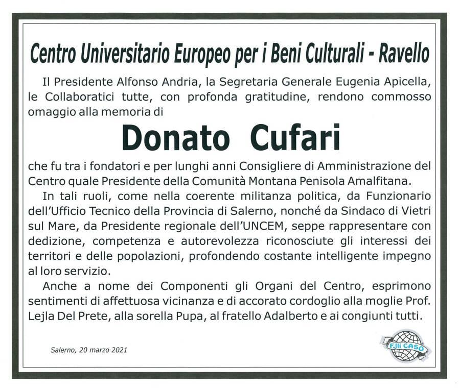 Ravello, Centro Universitario Europeo per i Beni Culturali. Cordoglio per la scomparsa di Donato Cufari