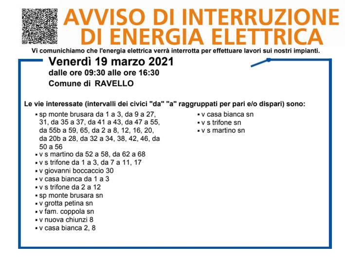 Ravello, venerdì 19 marzo interruzione elettrica. Ecco le vie interessate