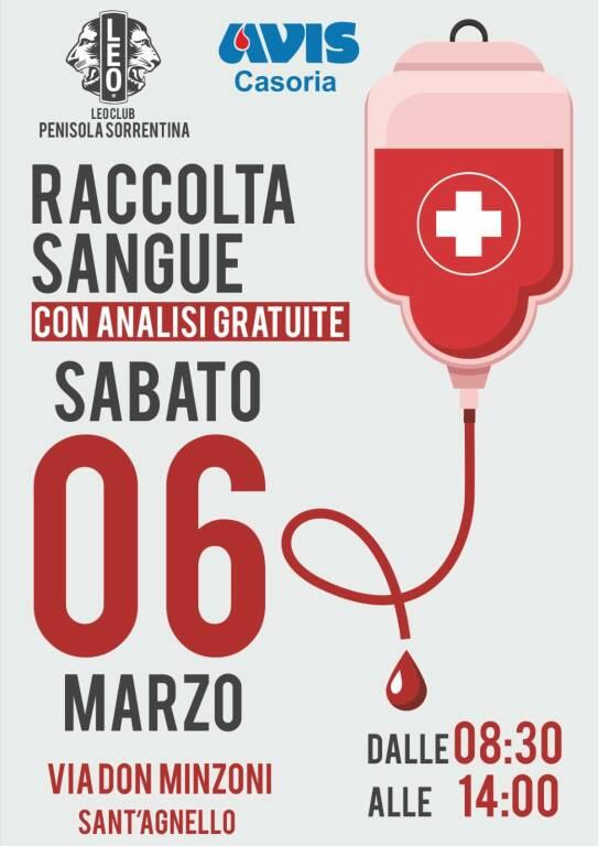 Sant'Agnello, sabato 6 marzo giornata dedicata alla donazione del sangue