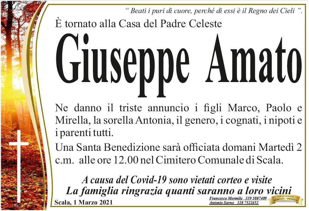 Scala, Giuseppe Amato è tornato alla Casa del Padre