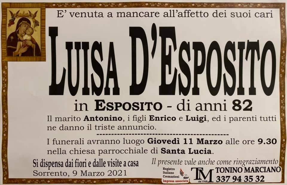 Sorrento, all'età di 82 anni ci lascia Luisa D'Esposito in Esposito