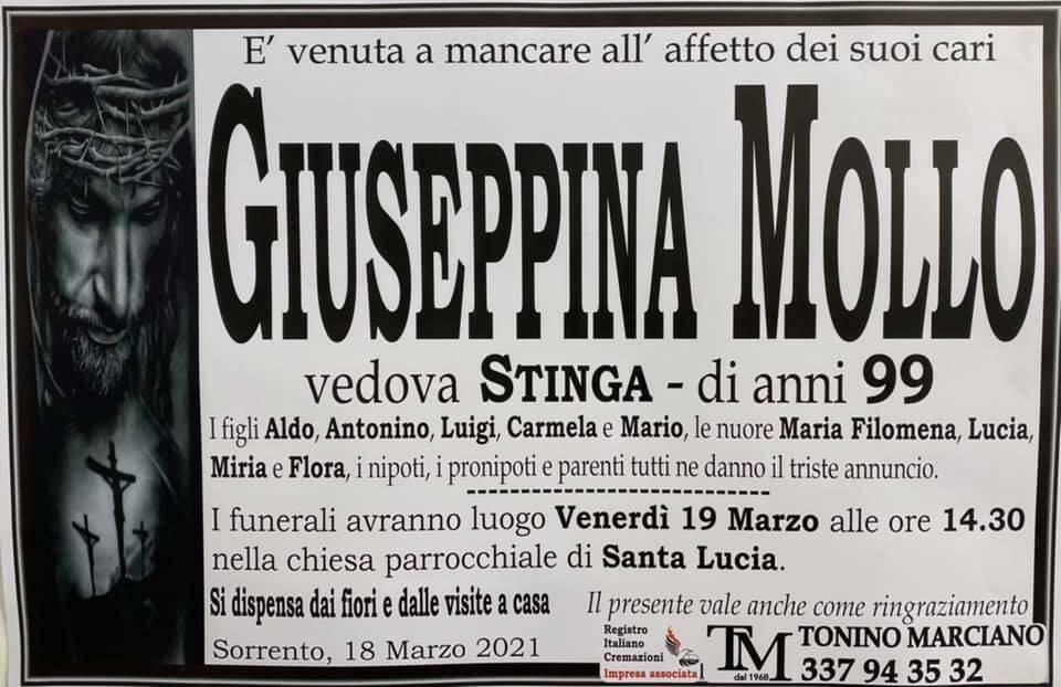 Sorrento, all'età di 99 anni ci lascia Giuseppina Mollo, vedova Stinga