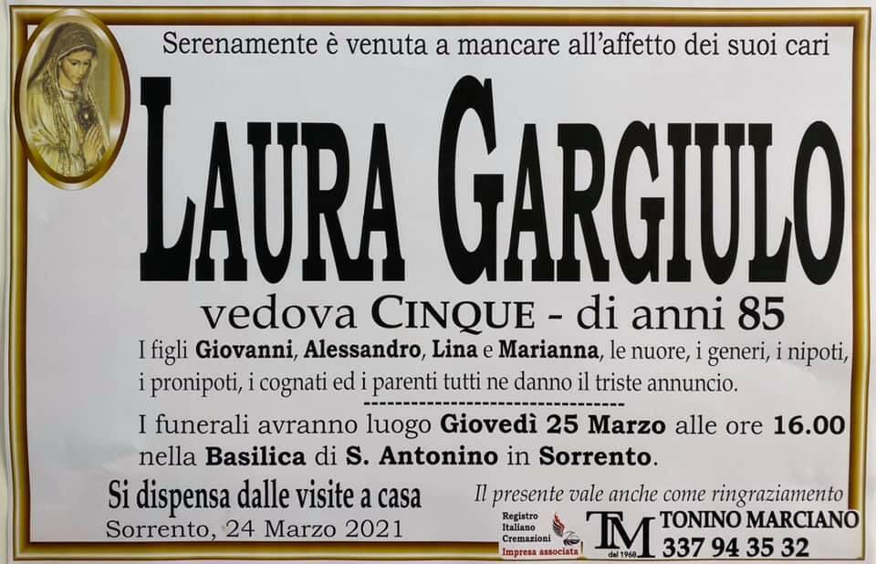 Sorrento, ci lascia l'85enne Laura Gargiulo, vedova Cinque