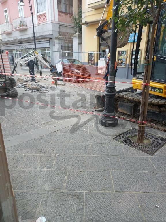 Sorrento, lavori in piazza Veniero