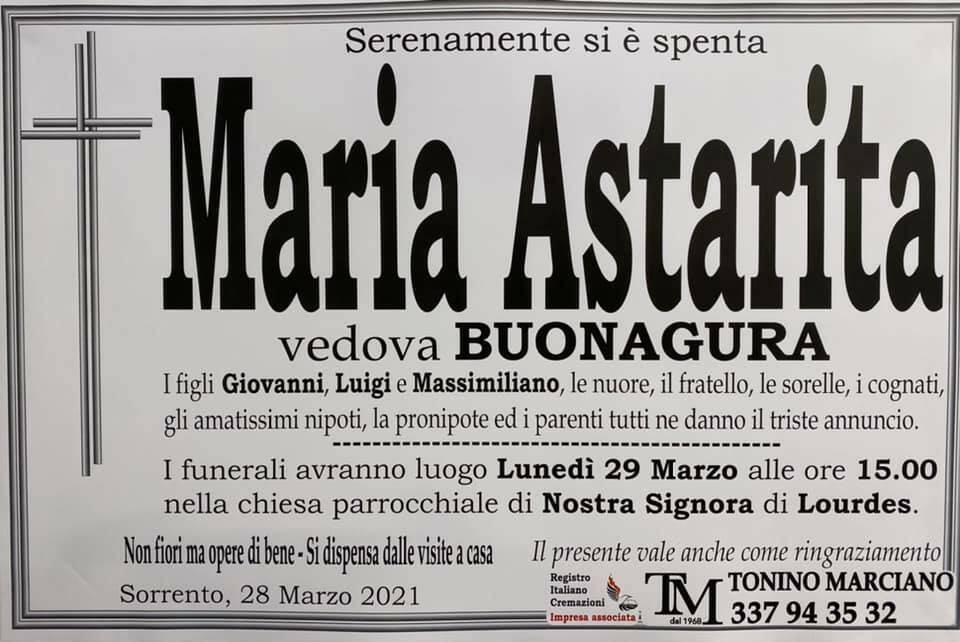 Sorrento piange la scomparsa di Maria Astarita, vedova Buonagura