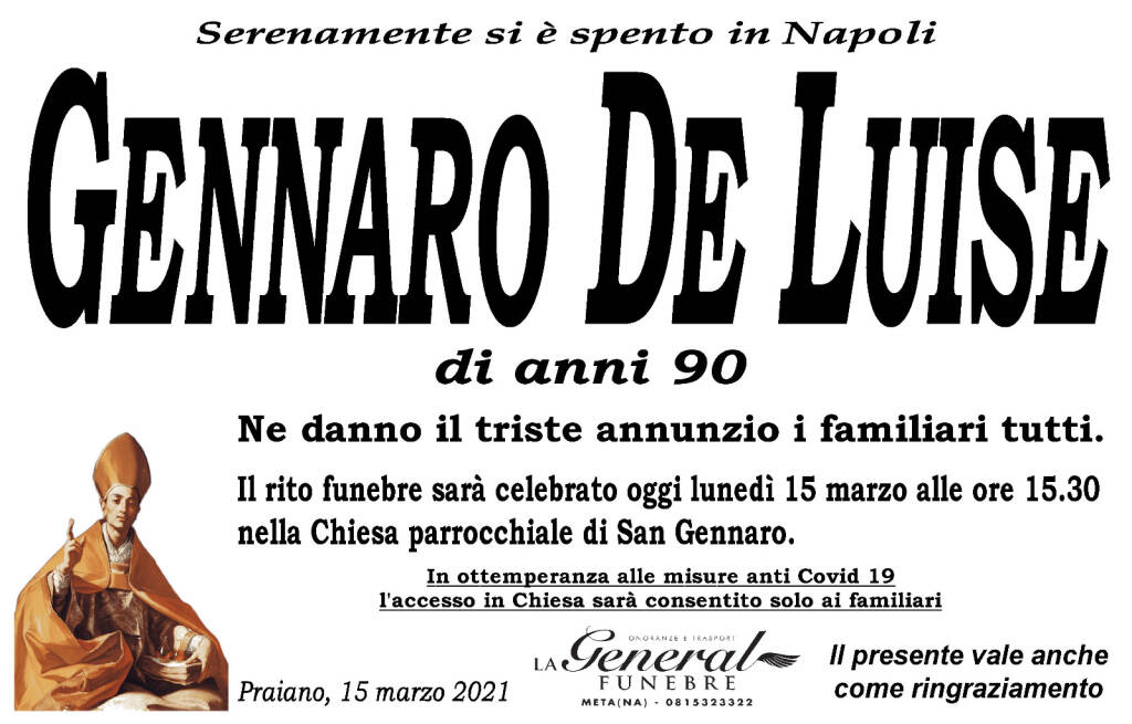 Praiano in lutto per la perdita di Gennaro De Luise