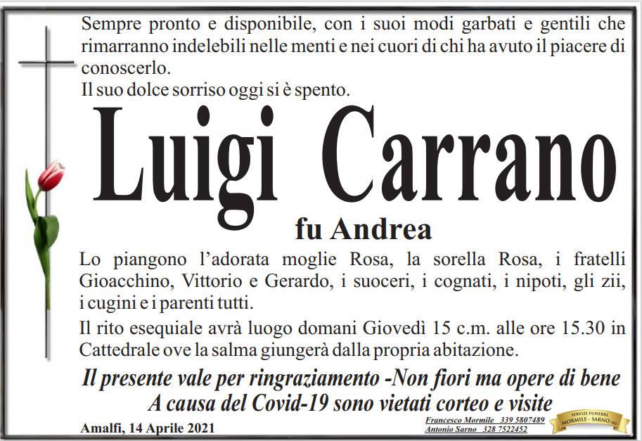 Amalfi piange la scomparsa di Luigi Carrano fu Andrea