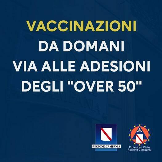 Campania, da domani mattina al via la prenotazione per gli over 50