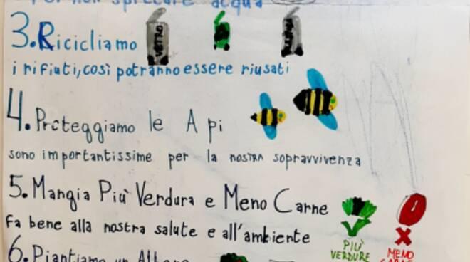 """Un manifesto per la Terra dagli alunni delle classi quarte dell\'ICS. \""""L. Porzio\"""" di Positano"""