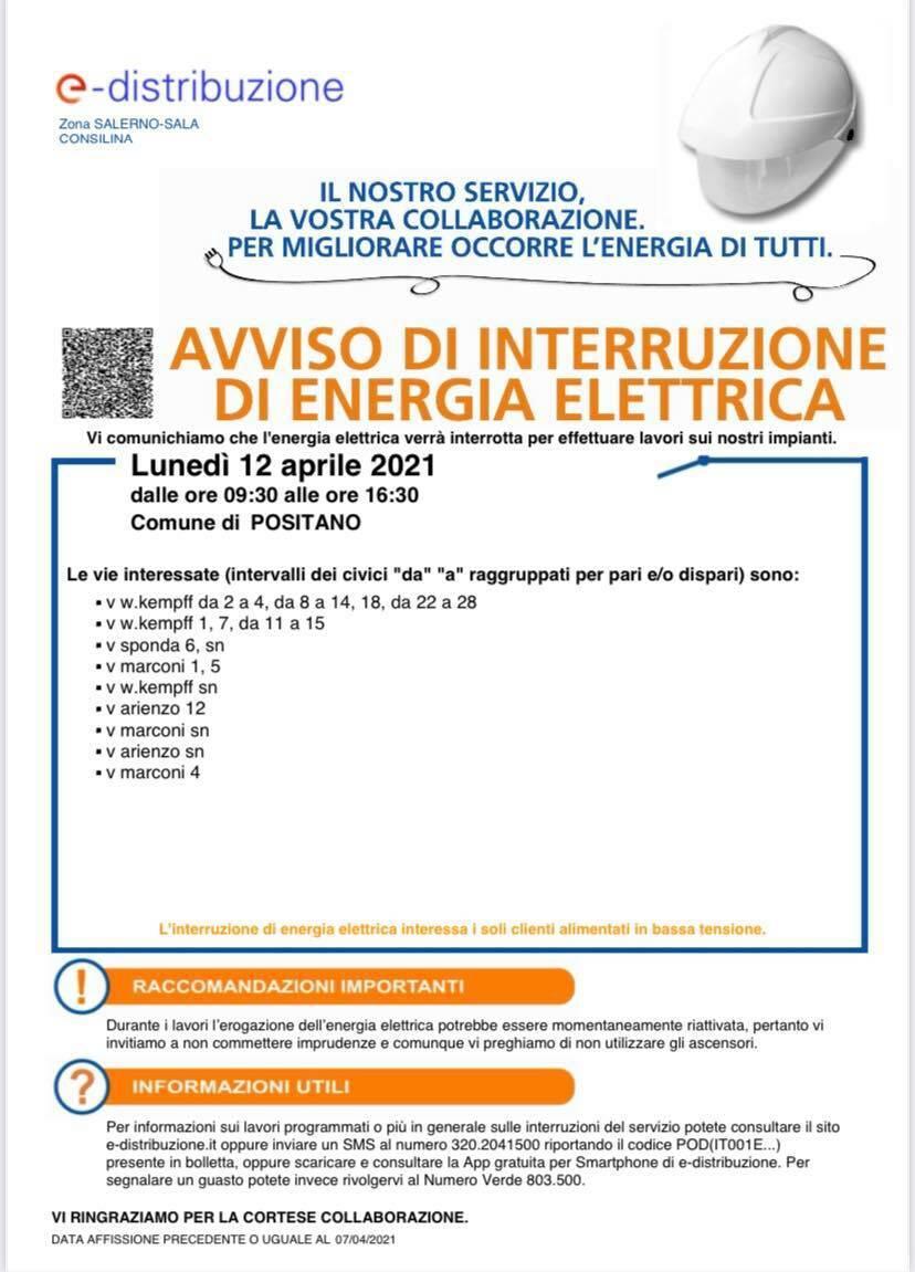 interruzione corrente positano 12 aprile